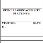 Geocache logsheet